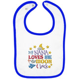 Nana Loves Me to the Moon and Back - Embroidered Infant Bib