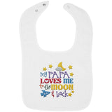 Papa Loves Me to the Moon and Back - Embroidered Infant Bib