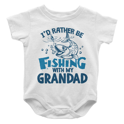 I'd rather be fishing with Grandad - Baby Onesie