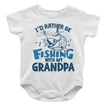 I'd Rather be Fishing with (Nickname) - Personalized Baby Bodysuit