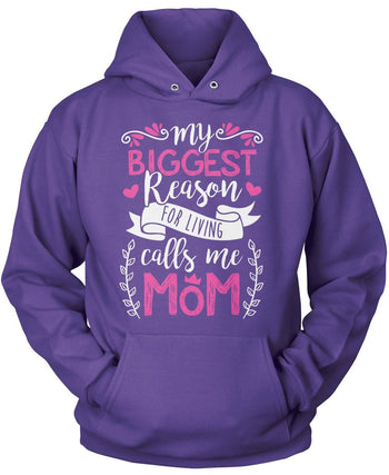 My Biggest Reason for Living Calls Me Mom - Pullover Hoodie / Purple / S