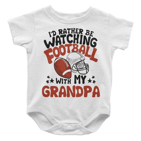 Rather Be Watching Football with My (Nickname) - Personalized Baby Onesie