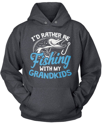 I'd Rather Be Fishing with My Grandkids - Pullover Hoodie / Dark Heather / S