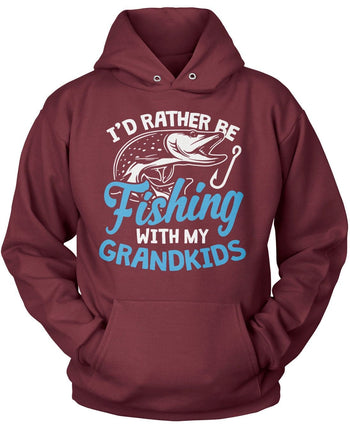 I'd Rather Be Fishing with My Grandkids - Pullover Hoodie / Maroon / S