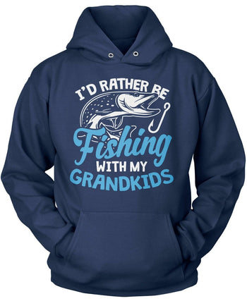 I'd Rather Be Fishing with My Grandkids - Pullover Hoodie / Navy / S