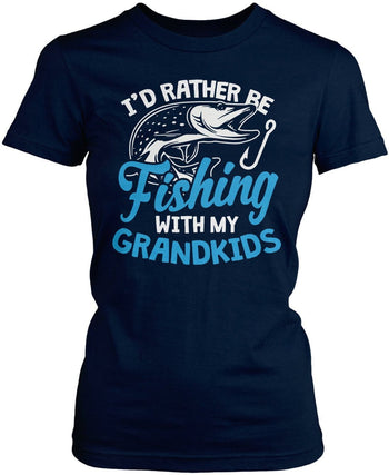 I'd Rather Be Fishing with My Grandkids - Women's Fit T-Shirt / Navy / S
