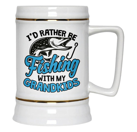 I'd Rather Be Fishing with My Grandkids - Beer Stein