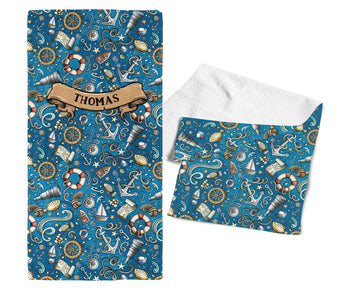 Nautical Explorer - Personalized Kids Name Towel