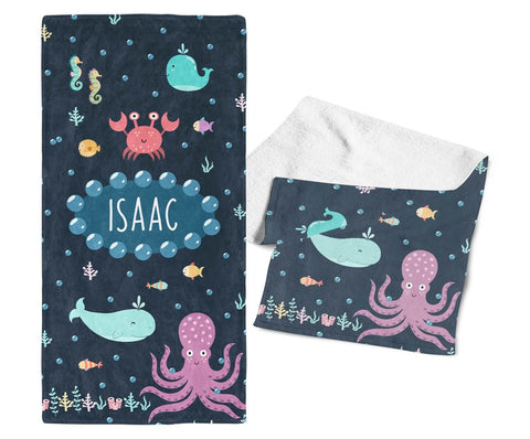 Under the Sea - Personalized Kids Name Towel