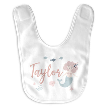 Mermaid Personalized Infant Baby Bib