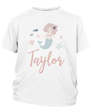Mermaid - Personalized Children's T-Shirt - Toddler T-Shirt / White / 2T