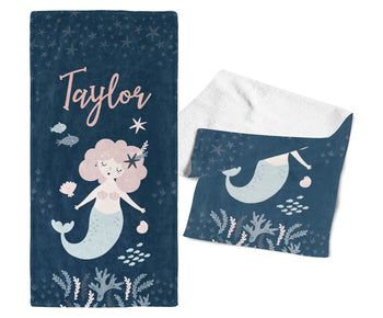 Mermaid - Personalized Kids Name Towel