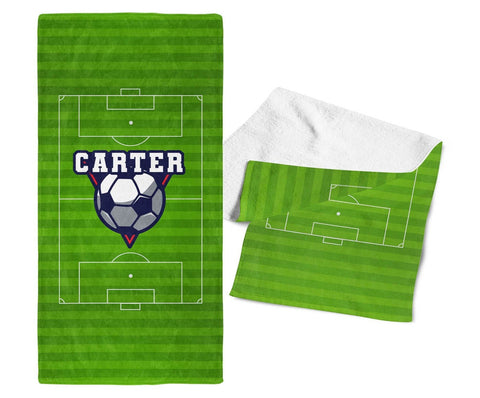 Soccer - Personalized Kids Name Towel