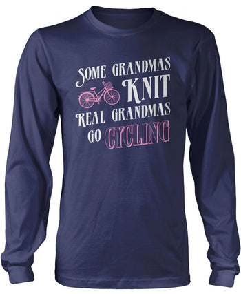 Real Grandmas Go Cycling - Long Sleeve T-Shirt / Navy / S