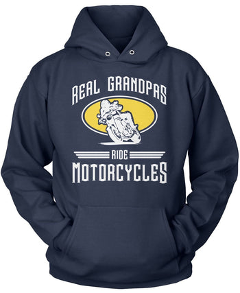 Real Grandpa's Ride Motorcycles - Pullover Hoodie / Navy / S