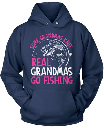 Some Knit Real (Nickname) Go Fishing - T-Shirt - Pullover Hoodie / Navy / S