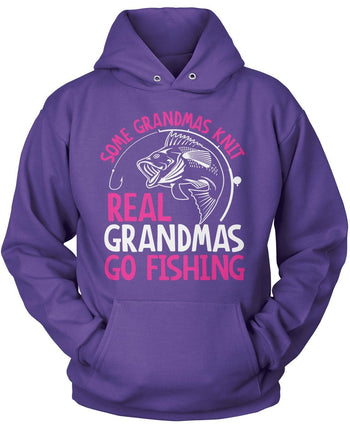 Some Knit Real (Nickname) Go Fishing - T-Shirt - Pullover Hoodie / Purple / S