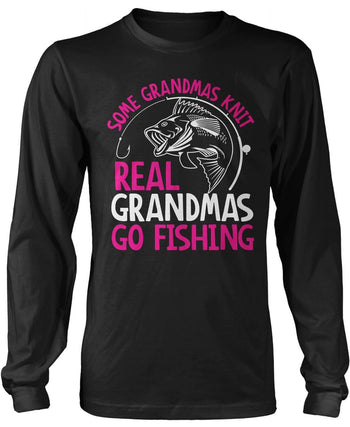Some Knit Real (Nicknames) Go Fishing - Personalized Long Sleeve T-Shirt