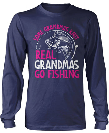 Some Knit Real (Nickname) Go Fishing - T-Shirt - Long Sleeve T-Shirt / Navy / S