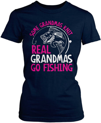 Some Knit Real (Nickname) Go Fishing - T-Shirt - Women's Fit T-Shirt / Navy / S