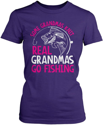 Some Knit Real (Nickname) Go Fishing - T-Shirt - Women's Fit T-Shirt / Purple / S
