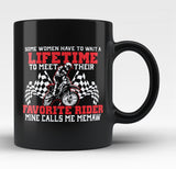 Favorite Motocross Rider - Mine Calls Me Memaw - Black Mug / Tea Cup
