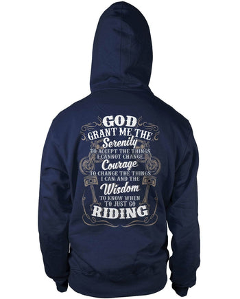 Motorcycle Serenity - Special Edition (Back Print) - Pullover Hoodie / Navy / S
