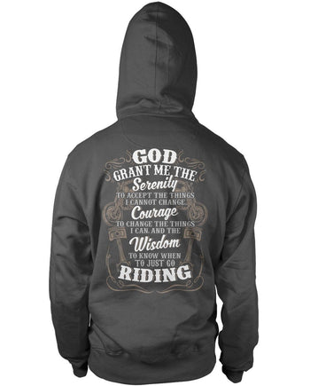 Motorcycle Serenity - Special Edition (Back Print) - Pullover Hoodie / Dark Heather / S