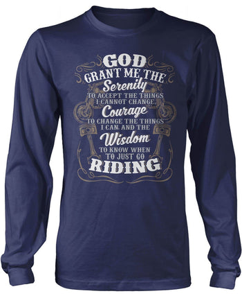 Motorcycle Serenity - Special Edition (Front Print) - Long Sleeve T-Shirt / Navy / S