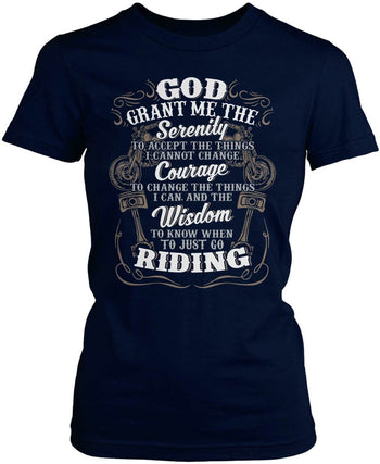 Motorcycle Serenity - Special Edition (Front Print) - Women's Fit T-Shirt / Navy / S