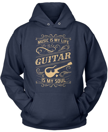 Music Is My Life Guitar Is My Soul - Pullover Hoodie / Navy / S