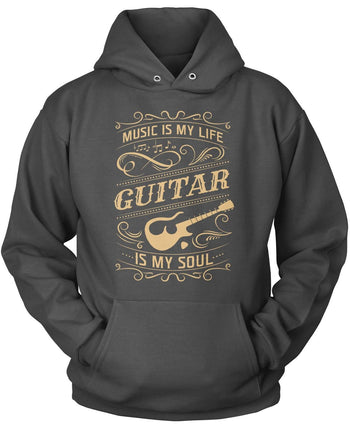 Music Is My Life Guitar Is My Soul - Pullover Hoodie / Dark Heather / S