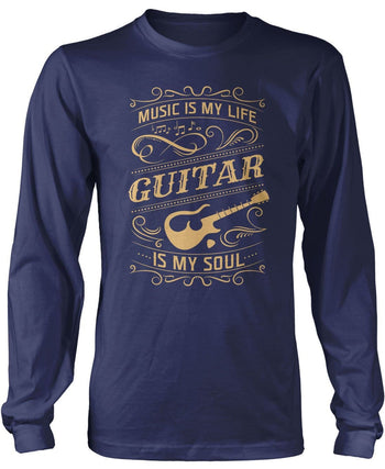 Music Is My Life Guitar Is My Soul - Long Sleeve T-Shirt / Navy / S