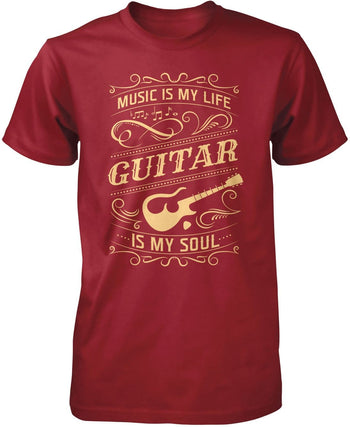 Music Is My Life Guitar Is My Soul - Premium T-Shirt / Cardinal / S