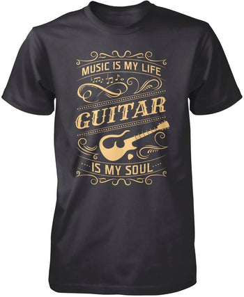 Music Is My Life Guitar Is My Soul - Premium T-Shirt / Dark Heather / S