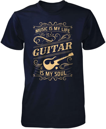 Music Is My Life Guitar Is My Soul - Premium T-Shirt / Navy / S