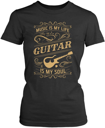 Music Is My Life Guitar Is My Soul - Women's Fit T-Shirt / Dark Heather / S