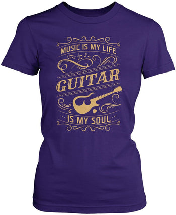 Music Is My Life Guitar Is My Soul - Women's Fit T-Shirt / Purple / S