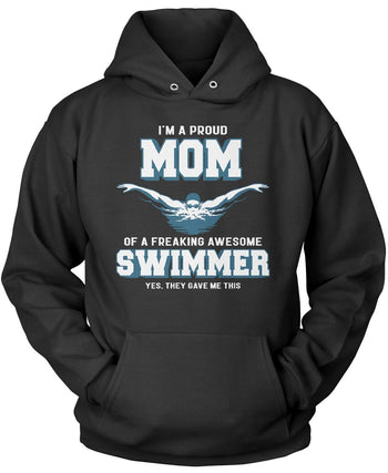 Proud (Nickname) of an Awesome Swimmer Pullover Hoodie Sweatshirt