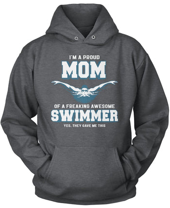 Proud (Nickname) of an Awesome Swimmer - T-Shirt - Pullover Hoodie / Dark Heather / S