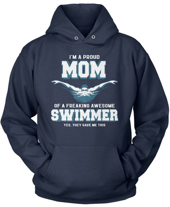 Proud (Nickname) of an Awesome Swimmer - T-Shirt - Pullover Hoodie / Navy / S