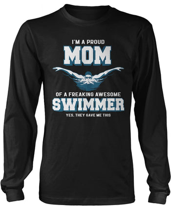 Proud (Nickname) of an Awesome Swimmer Longsleeve T-Shirt