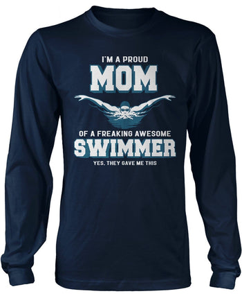 Proud (Nickname) of an Awesome Swimmer - T-Shirt - Long Sleeve T-Shirt / Navy / S