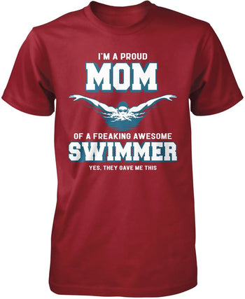 Proud (Nickname) of an Awesome Swimmer - T-Shirt - Premium T-Shirt / Cardinal / S