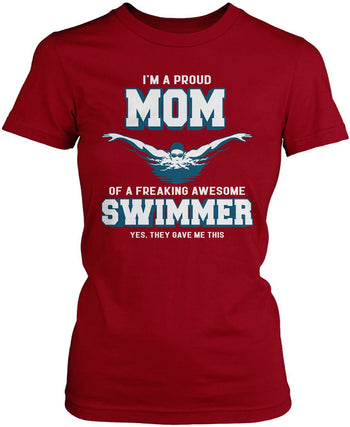Proud (Nickname) of an Awesome Swimmer - T-Shirt - Women's Fit T-Shirt / Cardinal / S