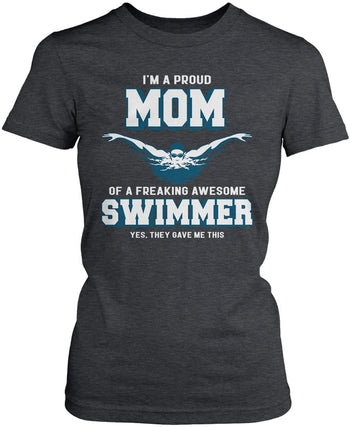 Proud (Nickname) of an Awesome Swimmer - T-Shirt - Women's Fit T-Shirt / Dark Heather / S
