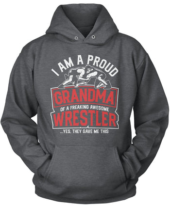 Proud (Nickname) of an Awesome Wrestler - Personalized T-Shirt - Pullover Hoodie / Dark Heather / S
