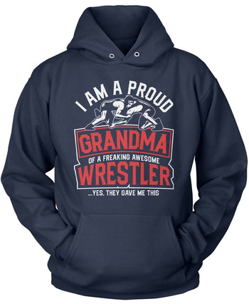 Proud (Nickname) of an Awesome Wrestler - Personalized T-Shirt - Pullover Hoodie / Navy / S