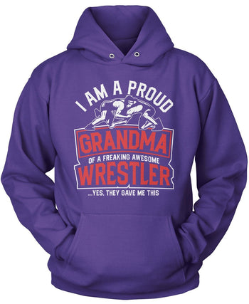 Proud (Nickname) of an Awesome Wrestler - Personalized T-Shirt - Pullover Hoodie / Purple / S
