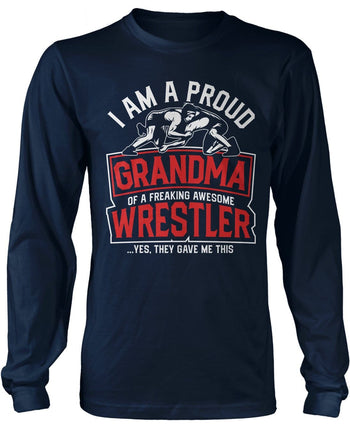 Proud (Nickname) of an Awesome Wrestler - Personalized T-Shirt - Long Sleeve T-Shirt / Navy / S